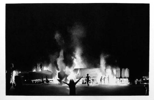 Raphaël Tachdjian, La dernière fois que je l'ai vu...#2, dessin pierre noire sur papier, 2013