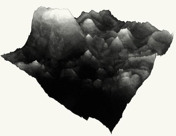 Juliette Vivier Nubes 2, gravure sur cuivre manières noires à l'aquatinte / impression à fonds perdus sur papier Hahnemülhe 300g, 2011 © Juliette Vivier