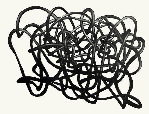 Juliette Vivier Nudos 1, gravure sur cuivre (eau-forte et manière noire à l'aquatinte) et un gaufrage impression à fonds perdus sur papier Hahnemülhe 350g, 2012 © Juliette Vivier