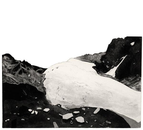 Juliette Vivier, Panorama 1, gravure, techniques mixtes de taille-douce, impression sur papier japon, découpage et marouflage sur Laurier, 2010 © Juliette Vivier