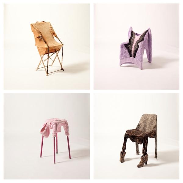 Quatre chairs (2011) Tirages numériques. Vêtements Emmaus et chaises trouvées dans la rue. 40 x 60 cm