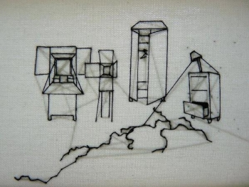 Lucie Picandet, Fissure, détail de broderie sur toile de lin enchâssée, 10x10cm, 2013