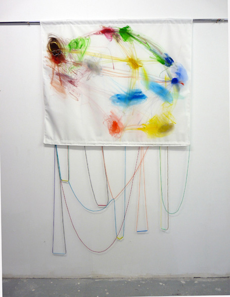 Lucie Picandet, Guerre II, broderie, acrylique sur toile, 100 x115 cm, 2013