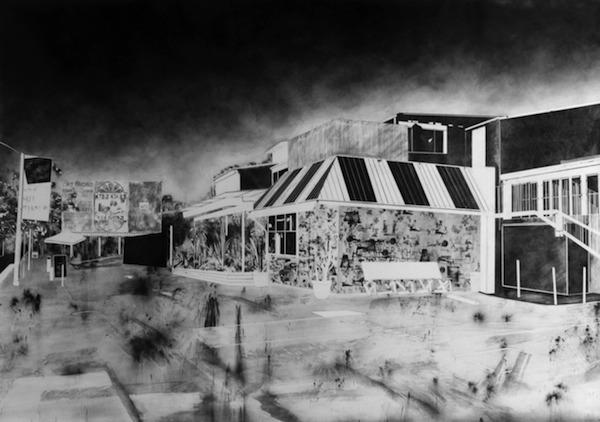 Maxime Duveau, Sunset Bar, 190x270cm, Fusain, tampons et transfert sur papier, 2015, Courtesy Galerie Houg Paris