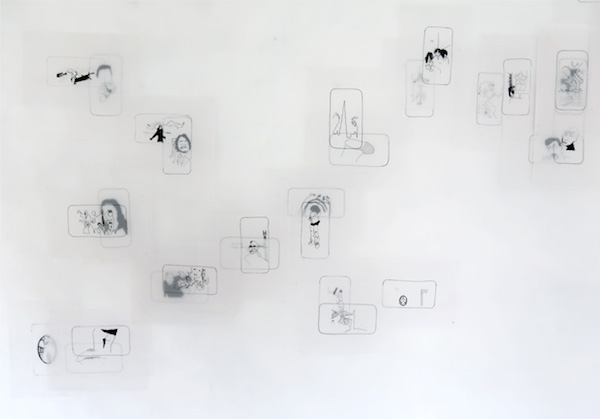 Juliette-Andrea Elie, The Cloud, Dessins à l'encre permanente sur papier calque sans acide, dimensions variables, 2012-2013 ©J-A.Elie