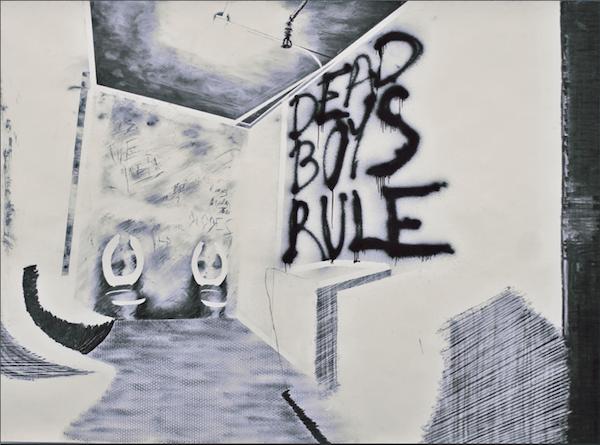 Maxime Duveau, Dead Boys Rule, 190cmx260cm, Fusain et peinture en spray sur papier, 2014