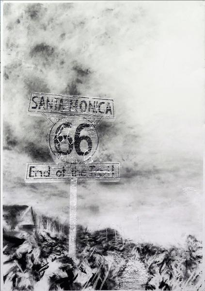 Maxime Duveau, Santa Monica 66, 100cmx70cm, Fusain sur papier, 2014