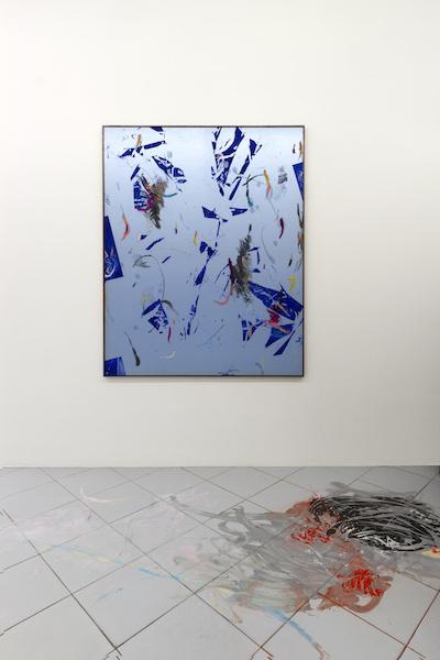 Bas van den Hurk, Beatrix kiddo, 2015, (medium) #1, 2015 Sérigraphie, huile, encre d'impression et poudre de pigments sur soie, encadré par l'artiste