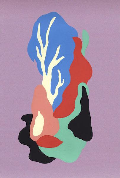Florent Groc, Arbres, 2013. Gouache sur papier de couleur. 17 × 32 cm