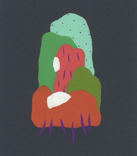 Florent Groc, Les collines, 2013. Gouache sur papier de couleur