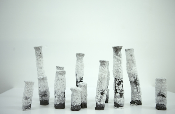 Laura O'rorke, Chandeliers cristal de sel, éléments du Banquet, dernier volet perforé du projet Téloméris Exposition Polder II, Glassbox, 2015