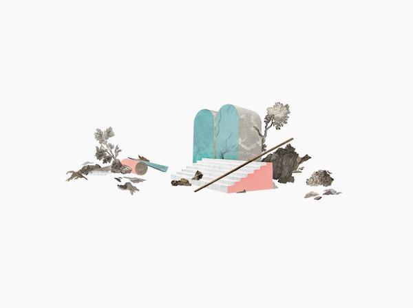 LES CONTRE-RELIQUES Dessin, gouache, collage de gravures anciennes, atlas et cyanotype 30 x 40 cm chaque Collection privée 2016