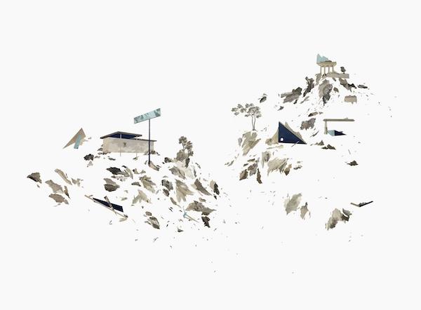 PTOLÉMÉE ET DEMI Collage de gravures anciennes et atlas 70 x 100 cm Collection privée 2015