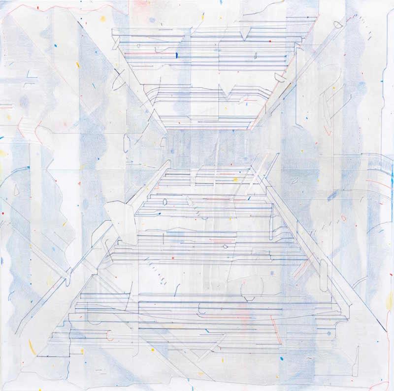 Keita Mori, Bug report (Potemkin stairs), 2015. Fil de coton et fil de soie, acrylic, caran d'ache sur toile. 70 x 70 cm.