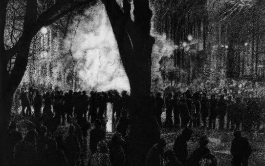 Thomas Lévy-Lasne, Manifestation 01, 2016. Fusain sur papier 56x76cm