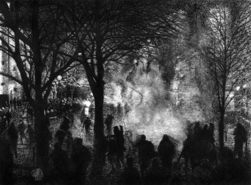 Thomas Lévy-Lasne, Manifestation 02, 2016. Fusain sur papier 56x76cm