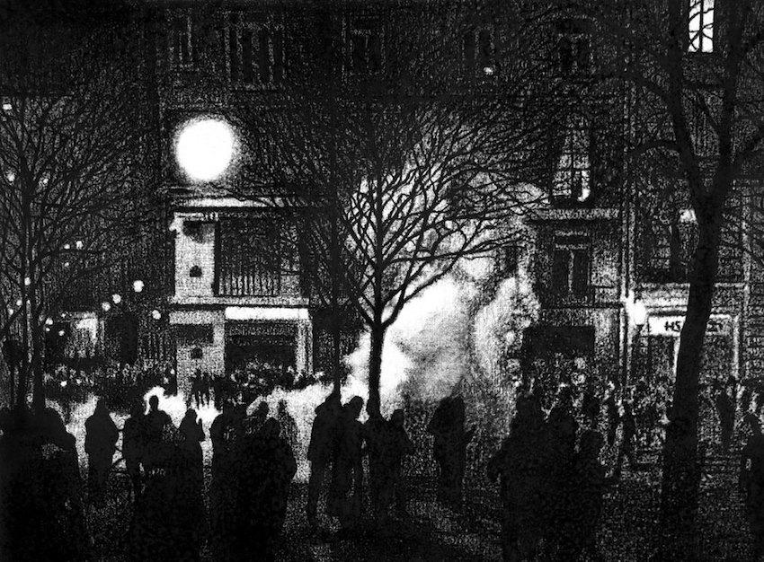 Thomas Lévy-Lasne, Manifestation 07, 2016. Fusain sur papier 54x76cm