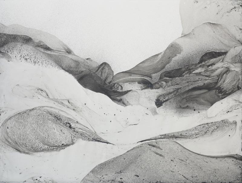 Ink mountains aout 2015 56 x76 cm Lavis d'encre de Chine et peinture acrylique sur papier arches