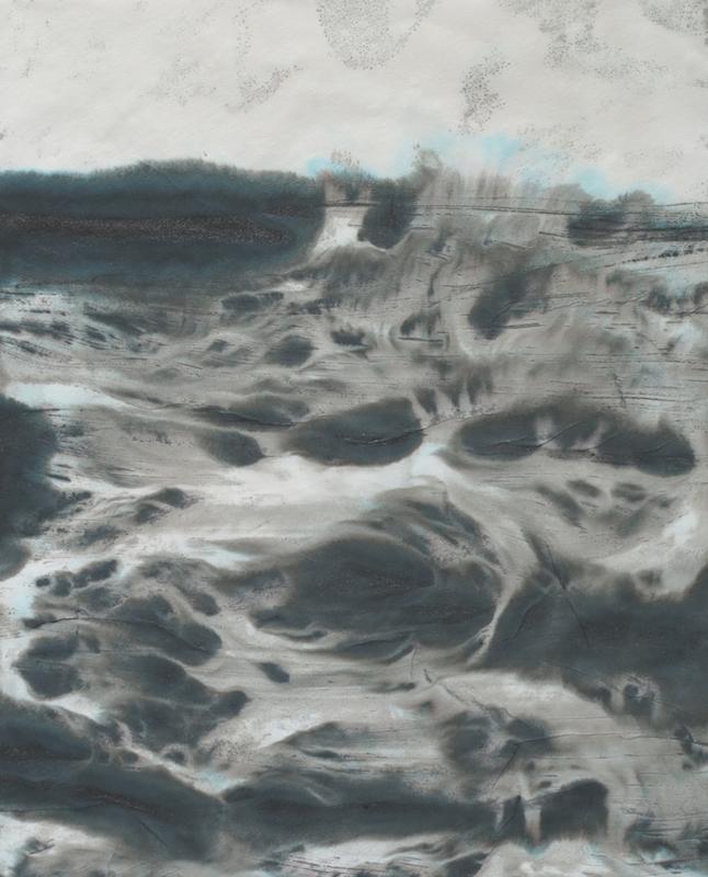 Japanese landscape 45,5 x 37,5 cm Encre sur papier japonais washi