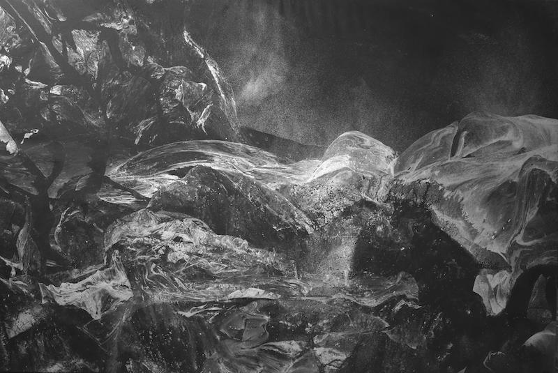 Silver mountains 97x146 cm peinture acrylique et encre de chine sur toile
