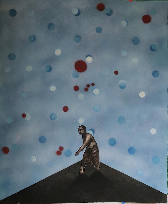 YIA ART FAIR #07 (Paris, Le Carreau du Temple). PK, Dancing with the Flag II, 2016, charcoal, collage, pastel, bombe et papier, 69x57cm. (courtesy Art Lab Africa, Nairobi)