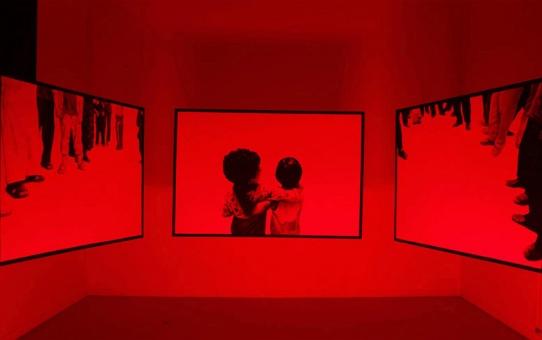 Matthieu Boucherit, Il nous suffit d'ignorer la réalité, 2011. Acrylique sur toile, néons, appareil photographique, 130 x 160 cm. Courtesy Galerie Valérie Delaunay