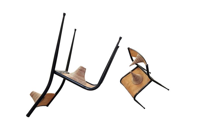 Couple de chaises, 2016 - Sculptures. Dimensions 2 x 40 cm / 72 cm / 47 cm ©ADAGP - Nicolas Tourte / Galerie Laure Roynette