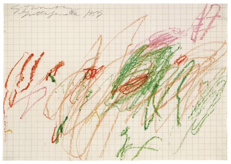 Sans titre (Grottaferrata) 1957 Crayon à la cire et mine de plomb sur papier quadrillé 7 dessins : 21,6 x 29,9 cm (chaque) Collection particulière © Cy Twombly Foundation, courtesy Galerie Karsten Greve, St. Moritz, Paris, Köln