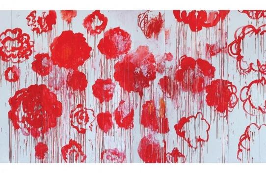 Cy Twombly- Rétrospective - Centre Pompidou Paris. Blooming, 2001-2008 Acrylique, crayon à la cire sur 10 panneaux de bois, 250 x 500, Collection particulière © Cy Twombly Foundation, courtesy Archives Fondazione Nicola Del Roscio.