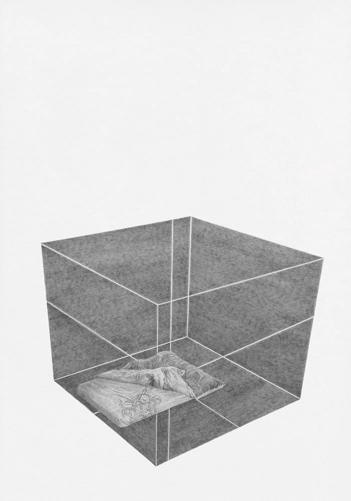 Complexes de Décubitus (étude), 2013. Crayon sur papier, 8 dessins de 84,1 x 59,4 cm. Crédits Thomas Tudoux
