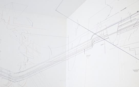Keita Mori, Bug report (corpus), détail, 2015 Fil de coton et fil de soie sur mur. Vue de l'exposition «FID PRIZE 2015», galerie Catherine Putman, Paris. Photo Tagma Hiroki. Courtesy the artist and Galerie Catherine Putman, Paris © ADAGP Paris