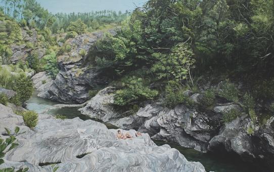Thomas Lévy-Lasne, Vacance, huile sur toile, 180x180cm, 2014. Courtesy Backslash