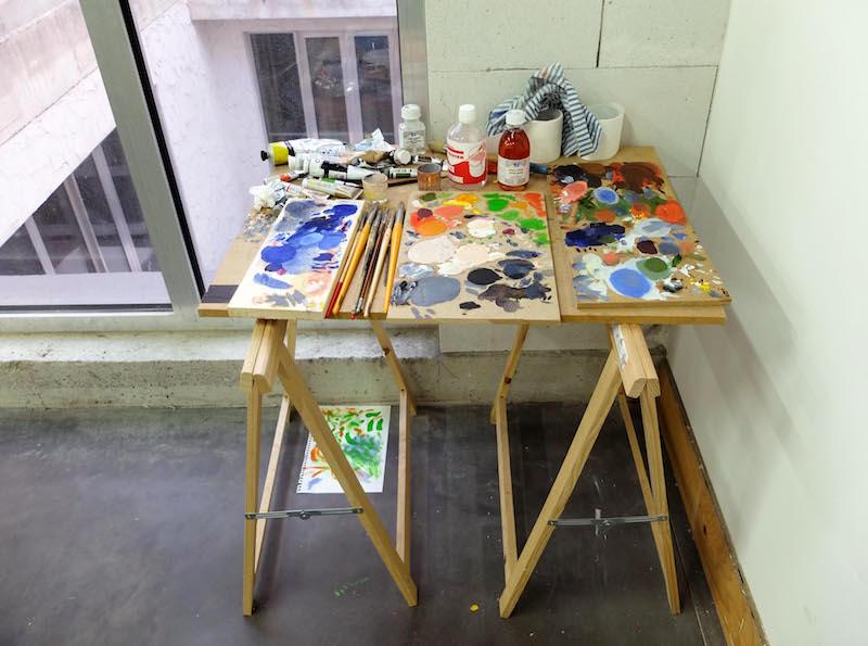 Vue de l'atelier Astérides occupé par Elvire Caillon, décembre 2016. © Elvire Caillon