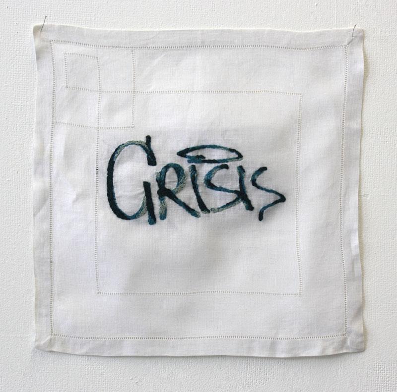 Les pleurs de l'Aube - Crisis, 2015, broderie sur mouchoir.
