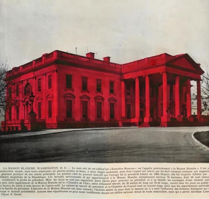 Léa Le Bricomte, Maison Blanche au mercurochrome 2017. Mercurochrome sur photogravure de 1895, 34x26cm.