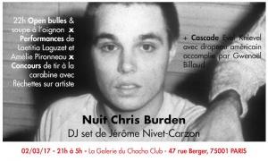 [AGENDA] 02.03 - Nuit Chris Burden - Galerie du Chacha Paris