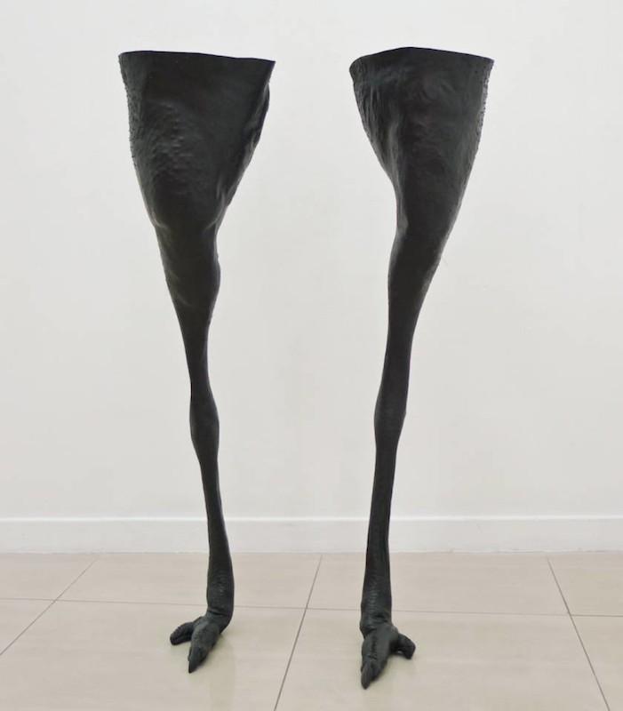 Christian Gonzenbach, Bottes, 2009. Peau d'autruche - Galerie Rabouan Moussion Paris