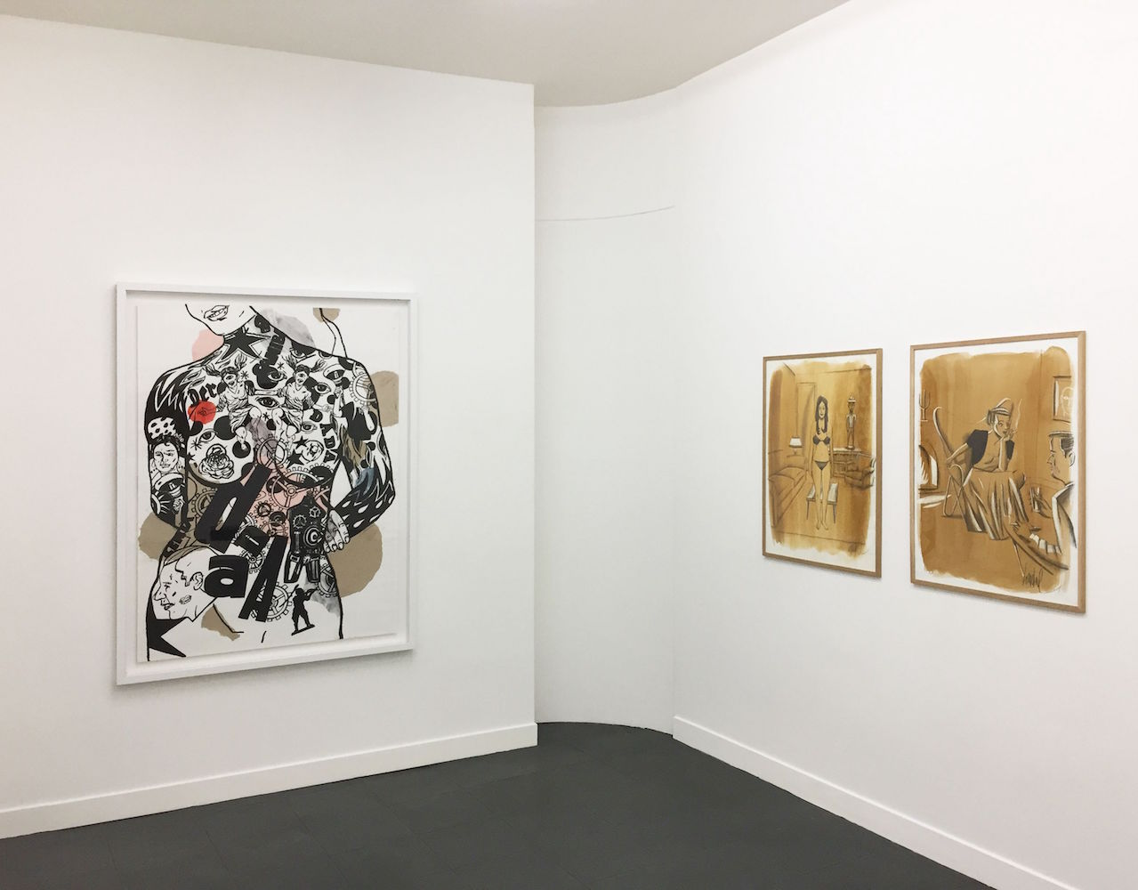 Arditi - Loustal - Vue d'exposition Dessins perturbateurs - Galerie Metropolis Paris