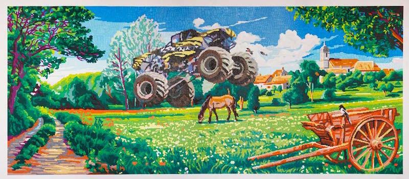 Truck, 2016. Feutre et broderie sur papier, 117 x 270 cm.