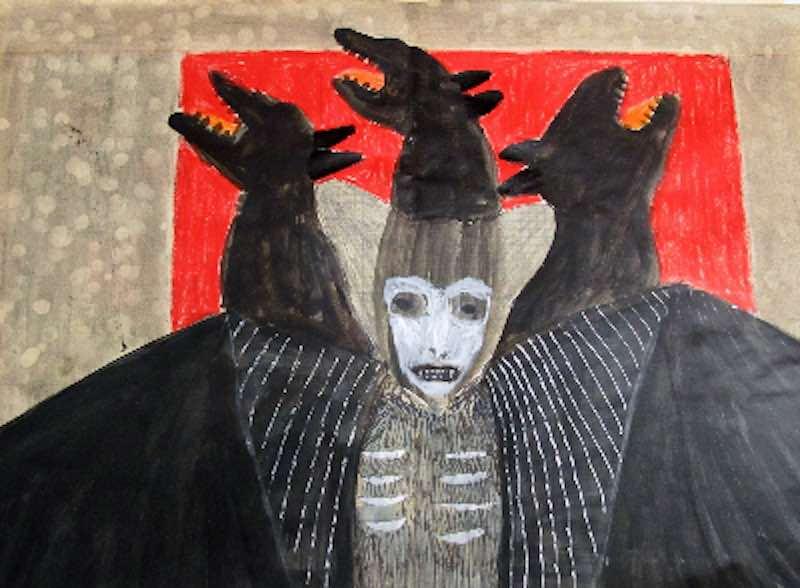 Annette Barcelo, CHUPACABRA, 2012 mixed media sur papier d'école 30 x 42 cm