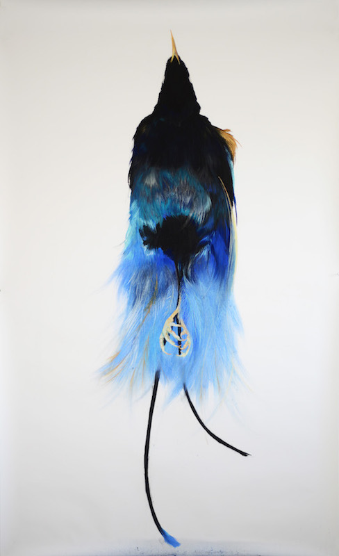 Roos Holleman, Blue bird of paradise, 2016. Pastel on paper, 250 x 150 cm - Courtesy Janknegt Gallery
