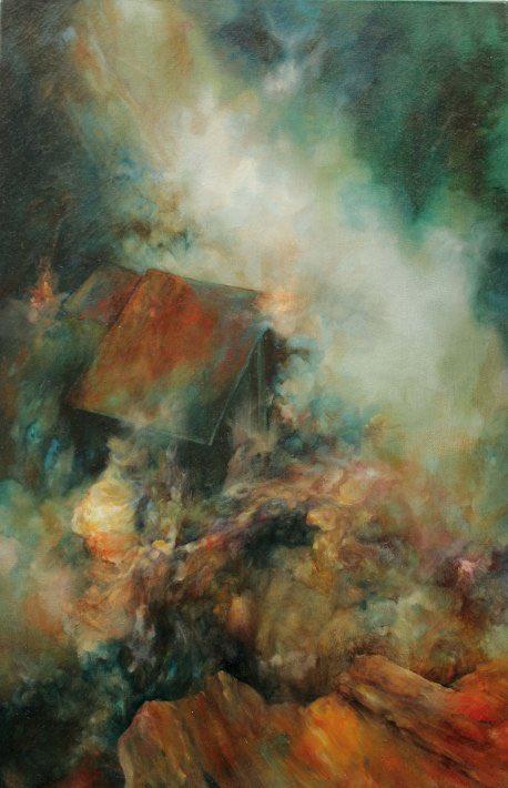 Émilie Sévère, Campement, huile sur toile, 54 x 81 cm, 2016