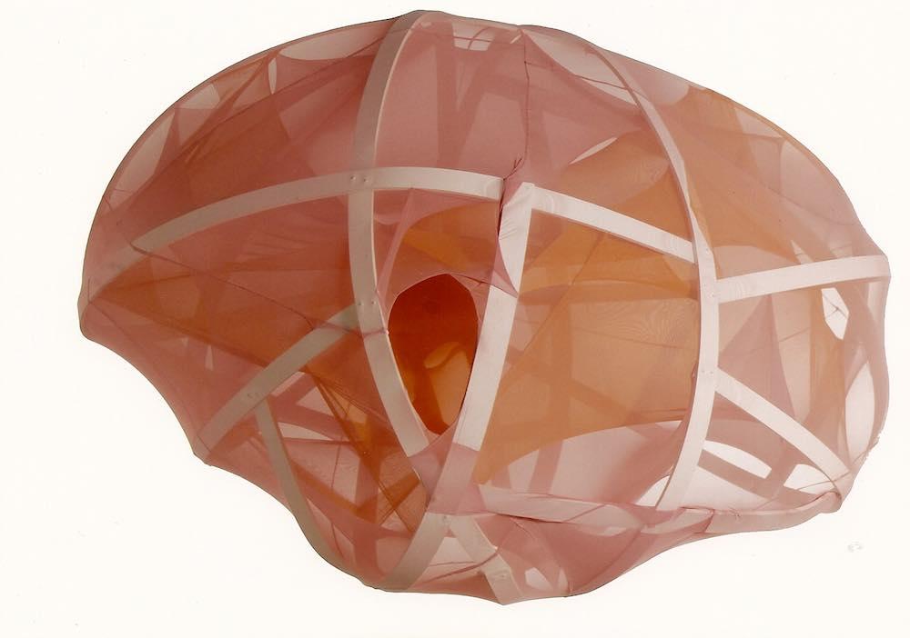 Untitled, plastic lanes, elastic textile, 135 x 170 x 260 cm, 2004 La surface transparente permet de voir ce qui se trouve dedans et en même temps elle sert de couvrir le contenu.