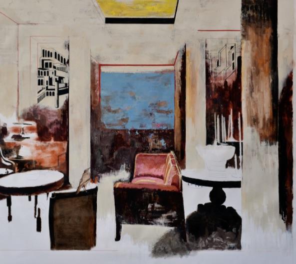 Bogdan Vladuta, Roman chamber, 2017, huile sur toile, 182 x 203 cm