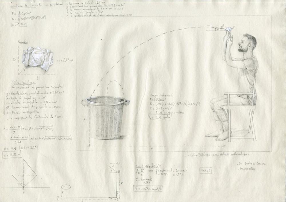 Jean-Charles Bureau, Calcul balistique avec obstacle mathématique, 2015, Crayon gris sur papier verger, 32 x 44 cm