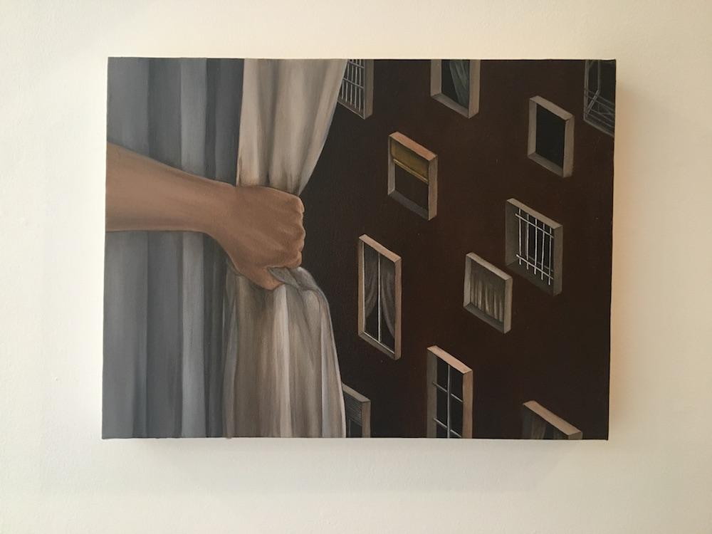 Haeji Lim, Mon espace, huile sur toile, 2017. Vue d'exposition CONFRONTATION Haeji Lim et Kun Kang Galerie du CROUS Paris. Photo : Point contemporain