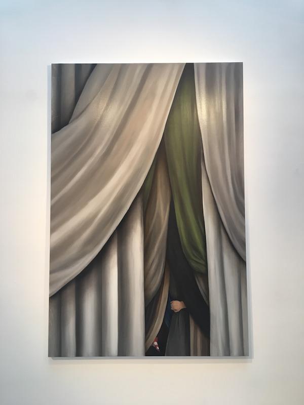 Haeji Lim, Un jour, huile sur toile, 2017. Vue d'exposition CONFRONTATION Haeji Lim et Kun Kang Galerie du CROUS Paris. Photo : Point contemporain