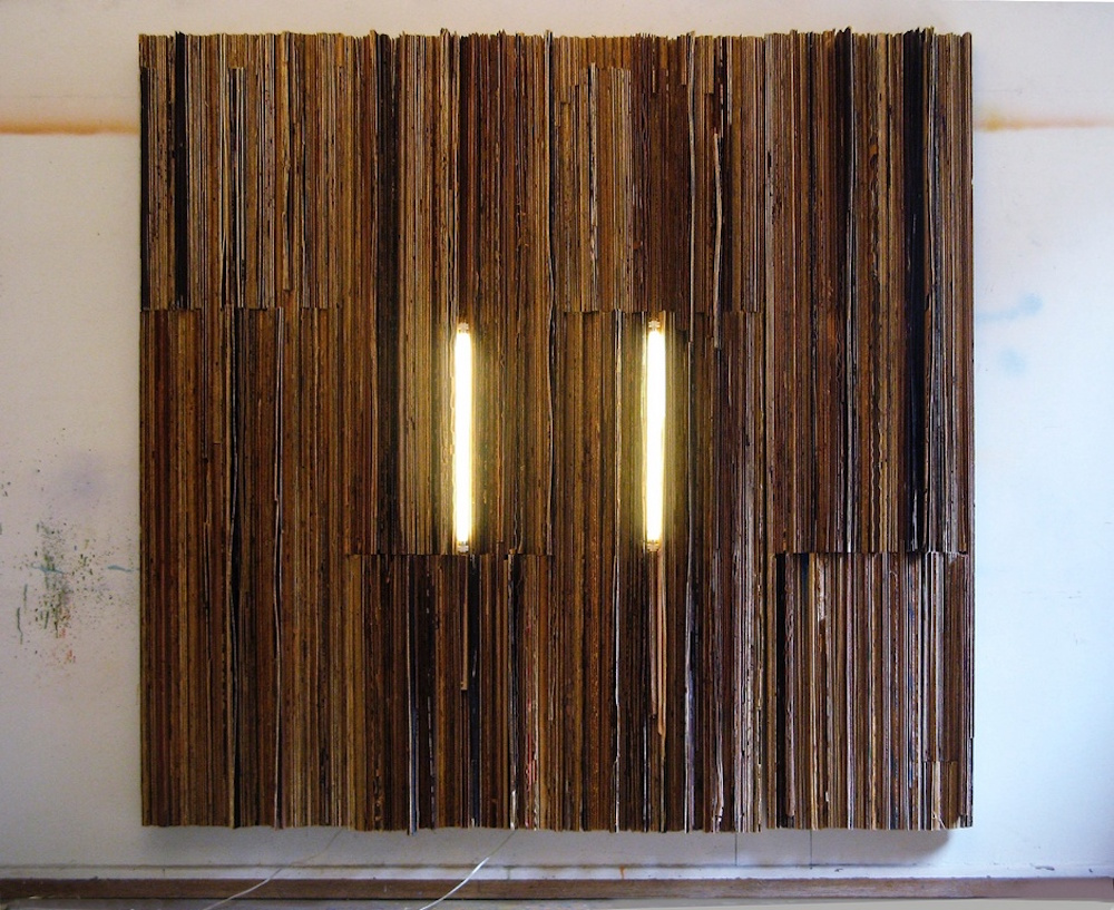 Eos Sarmata, plywood, neon lights, 2009.
