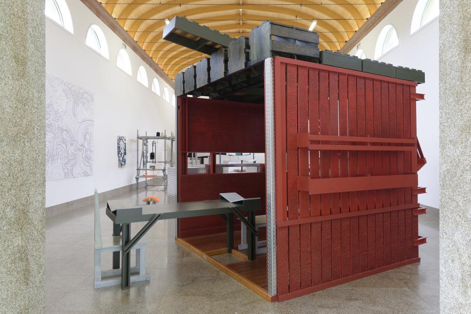 Siah Armajani, Sacco and Vanzetti Reading Room n°4 (détail), 1994. FNAC 95301 (1 à 111) Œuvre installée dans la Nef du Centre d'art