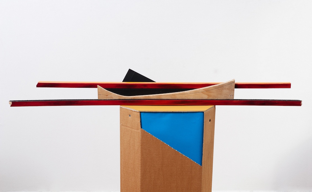 Sculptura Emfatica - Sailing, cardboard, paper, wood, paint, iron, 2013 (detail)